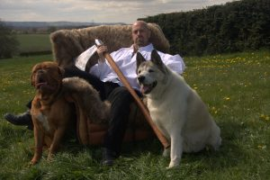 Author John Gwynne, accompanied by dogs and axes